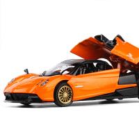 合金车模 智能电动帕加尼风之子风神赛跑车声光按钮开门