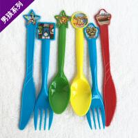孩派 节庆用品 礼品糖盒 儿童生日派对 一次性塑料男孩主题刀叉勺