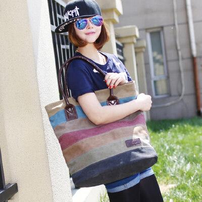 撞色条纹帆布包女包包 小清新单肩包女潮流手提女包大包包 品质保证 售后无忧 支持货到付款