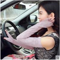 夏季时尚性感蕾丝防晒长款手套女款开车防紫外线半指手套