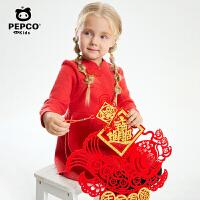 小猪班纳童装女童长袖连衣裙秋季新款宝宝国风裙子儿童国潮连身裙