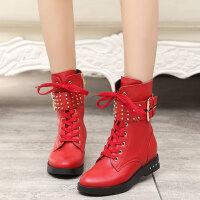 娜箐箐冬新款马丁靴内增高中筒靴欧美真皮柳钉靴粗跟中跟女靴