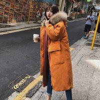 女2018新款中长款韩版拼接外套秋冬季宽松学生工装加厚夹棉衣