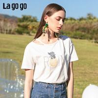 【5折价116】Lagogo/拉谷谷2019年夏季新款字母白色纯棉短袖T恤女IATT313C01