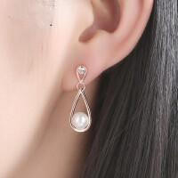耳坠纯银耳钉时尚个性气质简约女水滴珍珠耳环百搭 支持礼品卡支付