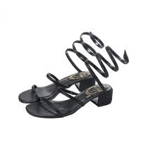 网红2019夏季新款水钻蛇形缠绕粗跟凉鞋女仙女风中跟ins潮 黑色+黑钻 跟高4.5CM 33 标准码数