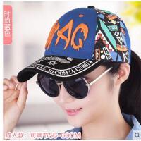帽子女士棒球帽韩版印花帽子嘻哈街舞帽时尚鸭舌帽太阳帽