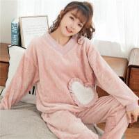 珊瑚绒睡衣女秋冬季长袖韩版甜美可爱法兰绒公主风加厚套装家居服