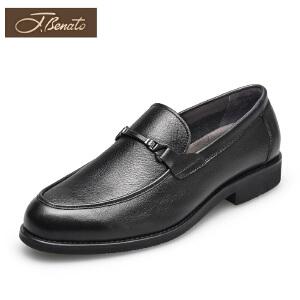 宾度男鞋春夏新款商务正装皮鞋 男士英伦圆头透气男单鞋头层牛皮