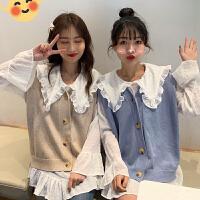 很仙的套装女春装2019新款韩版洋气雪纺衬衣+针织马甲网红两件套