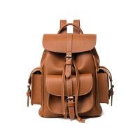 复古双肩包女韩版pu 休闲旅行背包英伦学院风中学生书包潮 棕色 包盖抽绳多袋版