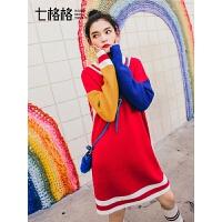 七格格长裙子韩版宽松早秋冬季女2018新款套头红色长袖针织连衣裙