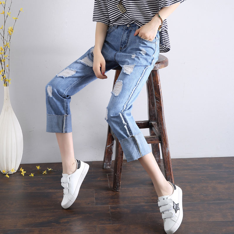 2017夏秋新款宽松卷边时尚破洞牛仔显瘦直筒九分裤