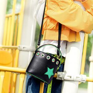 toutou2017秋冬新款韩版个性撞色星星chic水桶包单肩斜挎手提包潮