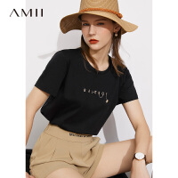 Amii极简凉感短袖小冰T恤女2021夏新款小熊绣花丝光纯棉黑色上衣\预售7月23日发货