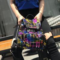 2018新款英伦风尼龙双肩包格纹帆布女包学院风大容量百搭旅行背包