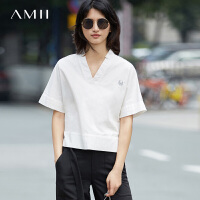 Amii[极简主义]2017夏新V领绣花连身袖开叉棉质衬衫女11732191