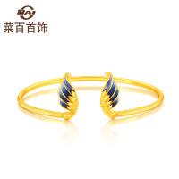 菜百首饰 黄金足金手镯蓝色羽毛烤彩足金手镯手环
