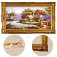 美想手绘欧式客厅田园风景油画 别墅餐厅挂画玄关天鹅装饰画 巧克力色 欧式角花画框 120*220 单幅