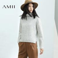 AMII[极简主义]女冬新品高领撞纹开衩大码点子纱毛衣11683874