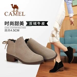 camel/骆驼女鞋2017秋冬新款 保暖羊毛雪地工装靴短靴女系带防滑女靴子