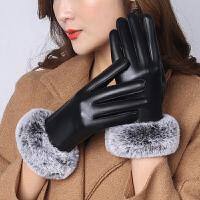 女士韩版皮手套秋冬季棉加绒加厚防风寒骑车开车保暖触屏薄款手