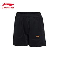 李宁短裤比赛裤女士国家队比赛羽毛球系列透气针织短装运动裤AAPM008