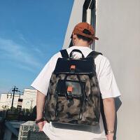 男生书包大学生迷彩双肩包男韩版皮质潮流 翻盖抽带时尚背包学生书包 男士旅行包