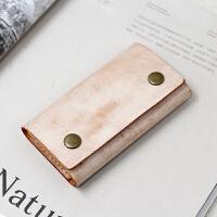 慢工 擦蜡牛皮简易钥匙包 双按扣植鞣牛皮三折钥匙卡包纯手工缝制