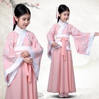 儿童汉服棉麻古装唐装表演服装女童贵妃女孩长袖公主古筝古代仙女