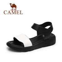 【每满200减100】camel骆驼女鞋 春夏新款 百搭松糕厚底松糕鞋女 魔术贴简约凉鞋