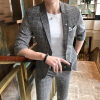 新款男士休闲中袖西服套装薄款发型师格纹修身西服新郎礼服西装潮