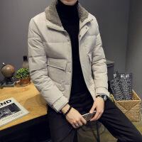 №【2019新款】过年穿的2019新款男士外套韩版修身翻领帅气服羊羔绒毛领潮