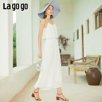 【清仓5折价179】Lagogo/拉谷谷2019年夏季新款时尚女连体休闲裤IAKK635C63