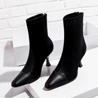 20190920025507661靴子女短靴2019春秋新款瘦瘦弹力单靴中跟细跟马丁靴女韩版袜子靴