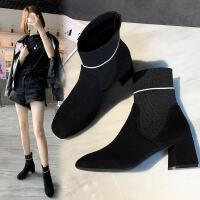 靴子女2019秋款韩版粗跟中跟袜子靴时尚绒面短靴女春秋单靴马丁靴 黑色
