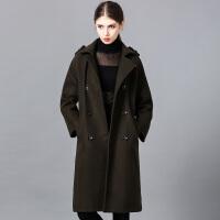 �莱2016冬季新款女装双排扣修身长款大衣外套