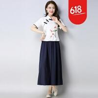 原创2018夏季新款改良旗袍复古中国风女装绣花短袖上衣+A字半身裙套装GH079 白色 白+藏青