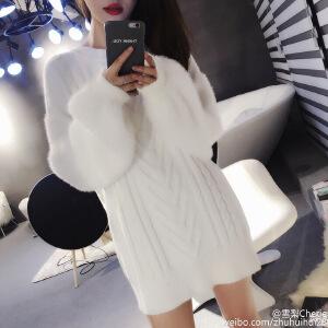 卡茗语钱夫人雪梨同款2017秋冬新款白色拼接高领毛衣女宽松套头衫毛毛袖