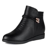 妈妈鞋老人单鞋大码鞋 真皮保暖内增高中年女棉皮鞋舒适防滑中老年人棉鞋