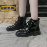 马丁靴女2019新款韩版秋季粗跟低跟马丁靴女时尚英伦漆皮短靴女潮