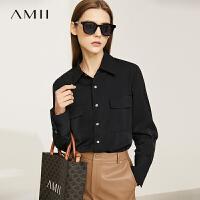 Amii极简帅气通勤翻领工装风衬衫女2021秋季新款前短后长宽松上衣
