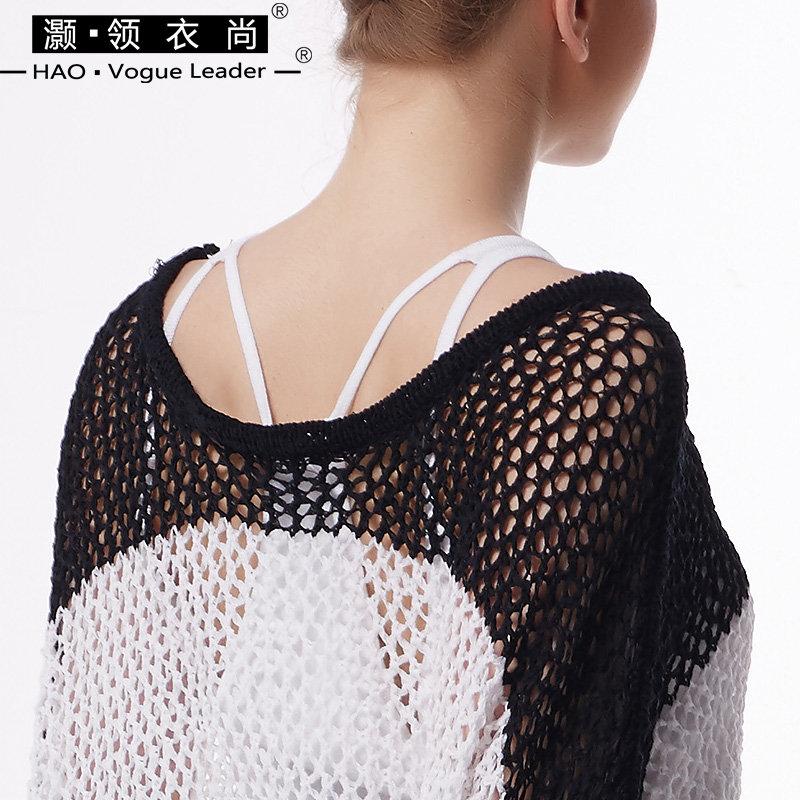 灏领衣尚春夏新款条纹镂空上衣休闲薄款透视女装防晒空调针织罩衫