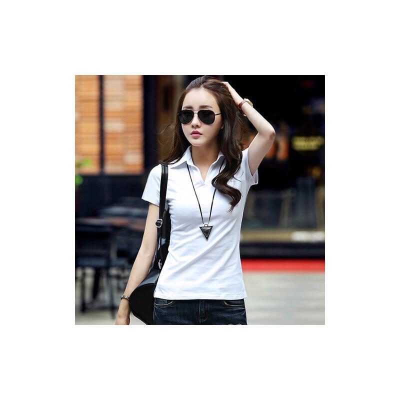 夏装新款女装t恤打底衫上衣韩版修身显瘦女式polo领v领短袖女t恤WK0095