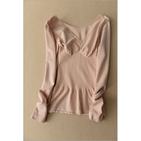 2018新款秋冬纯棉发热塑身保暖内衣女长袖低领修身美体紧身打底衫单件上衣