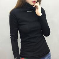 欧洲站女装欧货潮2018新款秋衣t恤内搭半高领加绒打底衫女长袖冬 黑色 S
