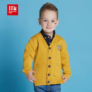 季季乐春秋新款背面条纹儿童针织开衫学院风中小童毛衣BQM63080