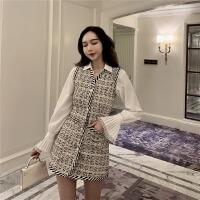 韩风甜美喇叭袖宽松衬衫女气质粗花呢背心连衣裙套装春女神两件套