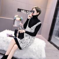 №【2019新款】冬天美女穿的女韩版加厚修身中长款高领针织连衣裙撞色拼接两件套 均码