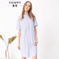 海贝夏季新款女装 全棉清新翻领单排扣中长款条纹短袖衬衫